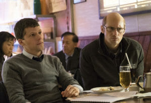 L to R - Jesse Eisenberg and Alexander Skarsgard in The Humming Bird Project