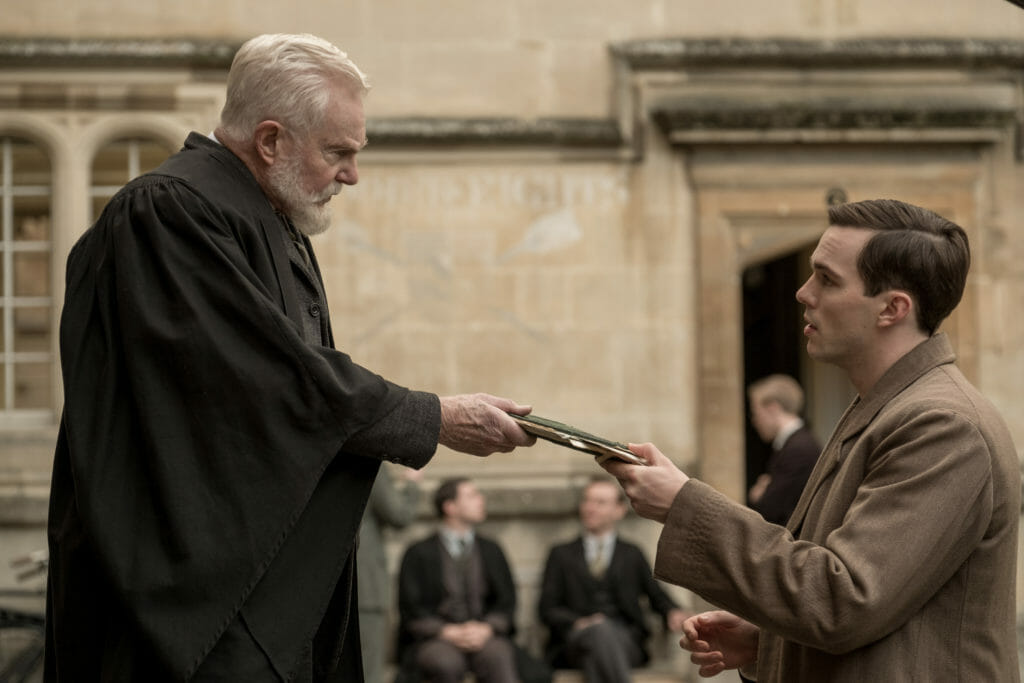 Derek Jacobi and Nicholas Hoult in the film TOLKIEN.